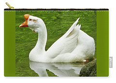 Carry-all Pouch featuring the photograph White Chinese Goose by Susan Garren