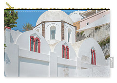 Carry-all Pouch featuring the photograph White Church At Fira by Antony McAulay