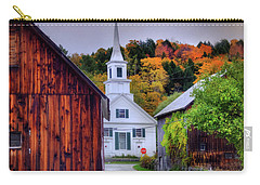 Carry-all Pouch featuring the photograph White Church In Autumn - Waits River Vermont by Joann Vitali