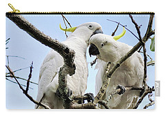 White Cockatoos Carry-all Pouch by Kaye Menner