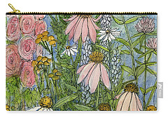 Carry-all Pouch featuring the painting White Coneflowers In Garden by Laurie Rohner