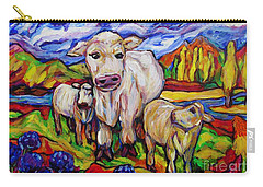White Cow And Twin Calves Carry-all Pouch by Dianne  Connolly