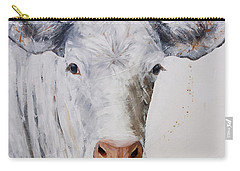 White Cow Munching On Grass Carry-all Pouch