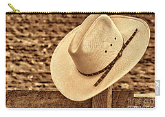 White Cowboy Hat On Fence Carry-all Pouch