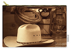 White Cowboy Hat On Workbench Carry-all Pouch