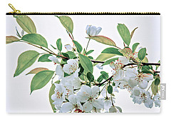 White Crabapple Blossoms Carry-all Pouch by Skip Tribby