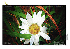 White Daisy Carry-all Pouch by Inspirational Photo Creations Audrey Woods