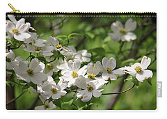 White Dogwood Blossoms Carry-all Pouch by Trina Ansel