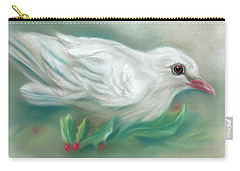 White Dove With Christmas Holly Carry-all Pouch