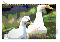 Carry-all Pouch featuring the mixed media White Ducks by Charles Shoup