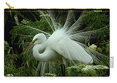 White Egret Displaying Carry-all Pouch by Myrna Bradshaw