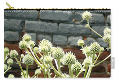 White Flowers And Bricks Carry-all Pouch