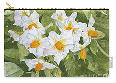 White Garden Blossoms Watercolor On Masa Paper Carry-all Pouch