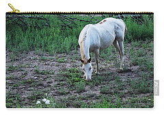 White Horse And A White Flower Carry-all Pouch by Natalie Ortiz