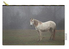 White Horse In Fog Carry-all Pouch