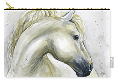 White Horse Watercolor Carry-all Pouch