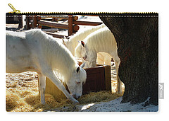 Carry-all Pouch featuring the photograph White Horses Feeding by David Lee Thompson