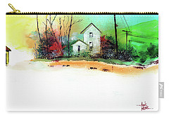 Carry-all Pouch featuring the painting White Houses by Anil Nene