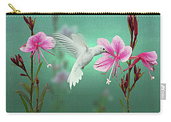 White Hummingbird And Pink Guara Carry-all Pouch