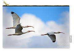 White Ibis Flock Carry-all Pouch by Mike Dawson