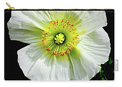 White Iceland Poppy Carry-all Pouch by Russell Keating