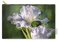 White Iris On Abstract Background #g4 Carry-all Pouch
