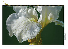 Carry-all Pouch featuring the photograph White Iris On Dark Green #g0 by Leif Sohlman