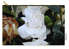 White Large Gardenia Carry-all Pouch by Suhas Tavkar