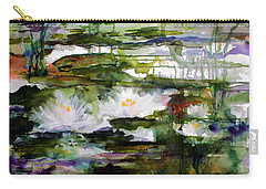 Carry-all Pouch featuring the painting White Lilies On Black Water Wetland by Ginette Callaway