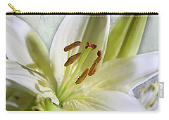 Carry-all Pouch featuring the photograph White Lilies On Blue by Jacqi Elmslie