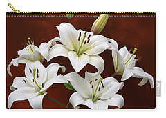 White Lilies On Red Carry-all Pouch by Jane McIlroy