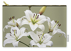 White Lilies Illustration Carry-all Pouch by Jane McIlroy