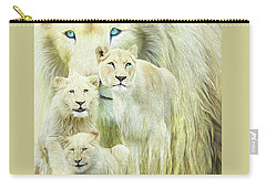 Carry-all Pouch featuring the mixed media White Lion Family - Forever by Carol Cavalaris