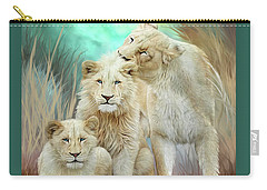 Carry-all Pouch featuring the mixed media White Lion Family - Mothering by Carol Cavalaris