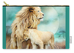 Carry-all Pouch featuring the mixed media White Lion Family - Protection by Carol Cavalaris