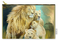 Carry-all Pouch featuring the mixed media White Lion Family - Unity by Carol Cavalaris