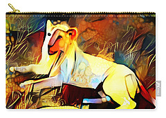 Carry-all Pouch featuring the photograph White Lioness by Pennie  McCracken
