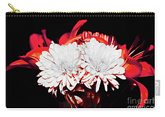 White Mums And Red Lilies Carry-all Pouch