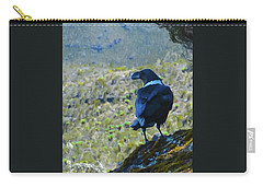 Carry-all Pouch featuring the photograph White-necked Raven Cliff-side by Jeff at JSJ Photography