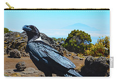 Carry-all Pouch featuring the photograph White-necked Raven Overlooking Mount Meru by Jeff at JSJ Photography