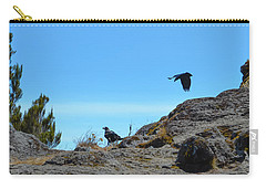 Carry-all Pouch featuring the photograph White-necked Raven Pair On Kilimanjaro by Jeff at JSJ Photography