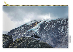 Carry-all Pouch featuring the photograph White-necked Raven Pair Under Kilimanjaro Summit Glacier by Jeff at JSJ Photography