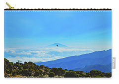 Carry-all Pouch featuring the photograph White-necked Raven Soaring Above Mount Kilimanjaro With Mount Meru by Jeff at JSJ Photography