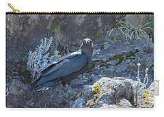 Carry-all Pouch featuring the photograph White-necked Raven With Kilimanjaro Flowers  by Jeff at JSJ Photography