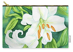 White Oriental Lilies Carry-all Pouch