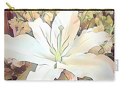 White Painted Lily Carry-all Pouch
