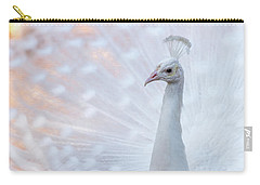 Carry-all Pouch featuring the photograph White Peacock by Sebastian Musial