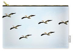 Carry-all Pouch featuring the photograph White Pelican Flyby by Ricky L Jones