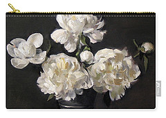 White Peonies Alone Carry-all Pouch