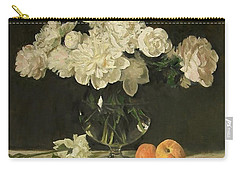 White Peonies In Giant Snifter With Peaches Carry-all Pouch